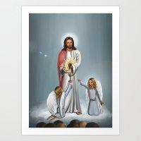christ Art Prints featuring Jesus Christ by Georgi Minkov
