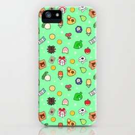 ac cute pattern mint iPhone Case