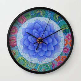 Violet Flower Mandala Wall Clock