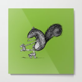 Ride On Squirrel_green Metal Print