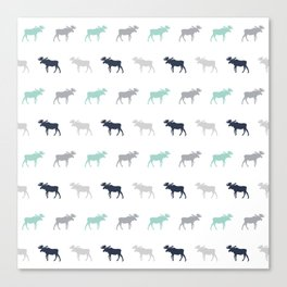 Moose pattern minimal nursery basic grey and white camping cabin chalet decor Canvas Print