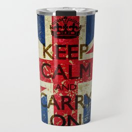 Scratched Metal/Grunge Keep Calm and Carry On Union Jack Travel Mug