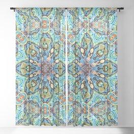 Blue with Orange Mandala Sheer Curtain