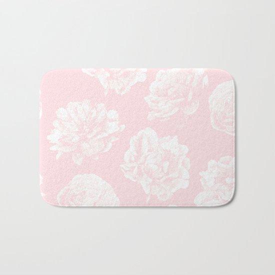 Pink Roses in Flamingo Pink Bath Mat