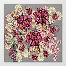 Roses and cherry blossom pattern Canvas Print