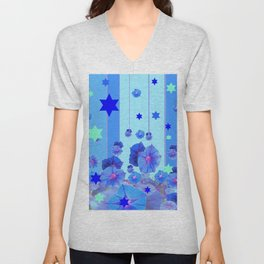 STARS & BLUE MORNING GLORIES RAIN POP ART Unisex V-Neck