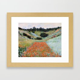 Poppy Field in a Hollow near Giverny by Claude Monet Framed Art Print