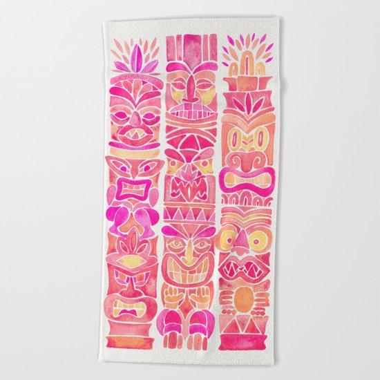 Tiki Totems – Pink Palette Beach Towel