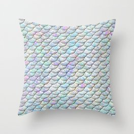 Mermaid Scales, Pattern, Pearl, Iridescent, Pastel Colors Throw Pillow
