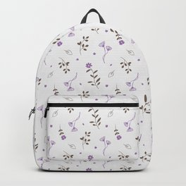 Lavender and Brown Spring Floral Print Backpack