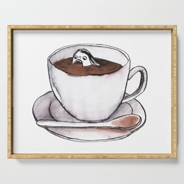 Caffeine addict tea and coffee cup illustration Serving Tray