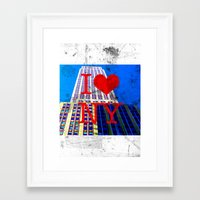 30 rock Framed Art Prints featuring I Love NY - 30 Rock  by Illumination House