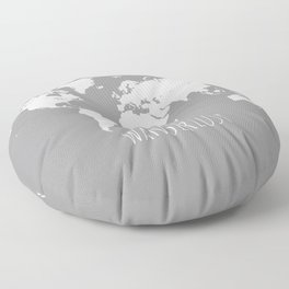 World Map Wanderlust Modern Travel Map in Gray With White Countries Floor Pillow