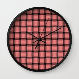 Light Coral Pink Weave Wall Clock