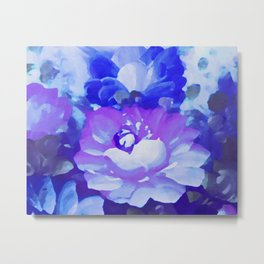 Painted Purple / Blue Flowers Metal Print