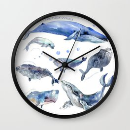 Whales, Whale design, whale wall art, sea, marine aquatic animal art, school learning wall Wall Clock