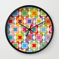 square Wall Clocks featuring Square by Helene Michau
