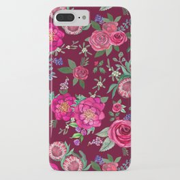 Burgundy Floral Thanksgiving , fall & winter floral in watercolor iPhone Case