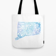 Typographic Connecticut - blue water Tote Bag