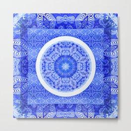 Simple Blue and White Meditation Mandala Metal Print