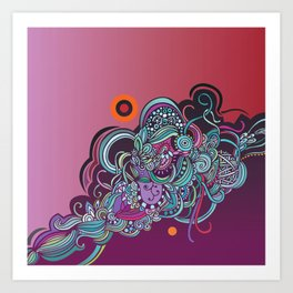 Detailed diagonal tangle, pink and purple Art Print