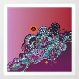 Detailed diagonal tangle, pink and purple Art Print