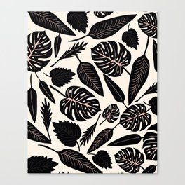 Monstera pattern in black and pastel Canvas Print