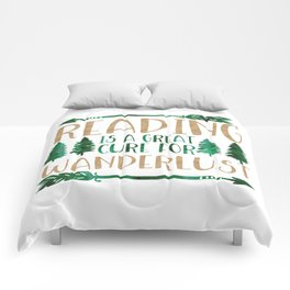 Reading is a Great Cure for Wanderlust (Green/Brown) Comforters