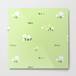 Hand Drawn Wild Flower & Green Grass Seamless Pattern Metal Print