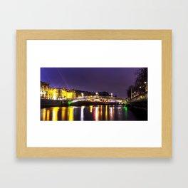 Liffey Bridge Ha'penny Bridge at Night Dublin Ireland Framed Art Print