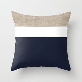 Faux Burlap, White, and Navy Minimalist Color Block 2  Throw Pillow