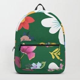Random Floral Pattern 3 Green Background Backpack