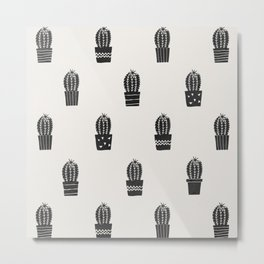 Stamped Potted Cacti Metal Print
