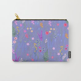 blue meadows colorful floral pattern Carry-All Pouch