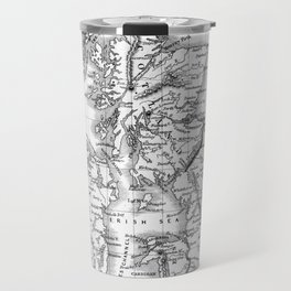 Vintage Map of The British Isles (1864) BW Travel Mug
