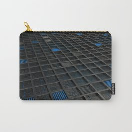 Futuristic industrial brushed metal grate with glowing lines Carry-All Pouch