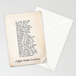 Ralph Waldo Emerson, To laugh often and much! Stationery Cards