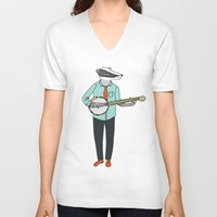 banjo V-neck T-shirts featuring Banjo Badger by Prelude Posters