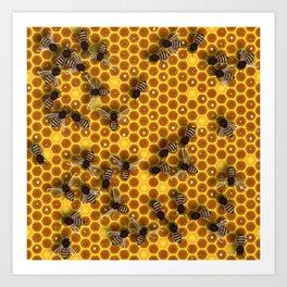 Honeycomb bee background illustration seamless pattern Art Print