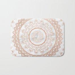 Mandala - rose gold and white marble Bath Mat