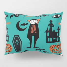 Cute Dracula and friends teal #halloween Pillow Sham