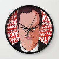 quentin tarantino Wall Clocks featuring Tarantino by Happy Motion