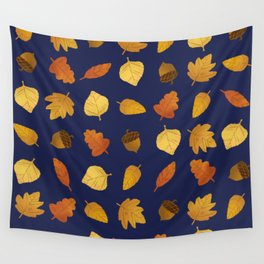 Leaf Lovers in Navy Wall Tapestry