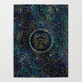 Cancer Zodiac Gold Abalone on Constellation Poster