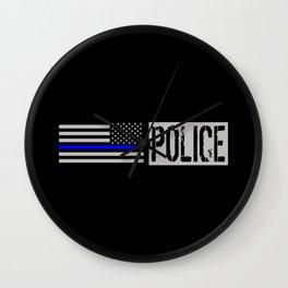 Police: Police Flag (Thin Blue Line) Wall Clock