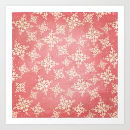 Red and Gold Snowflakes 1 Art Print