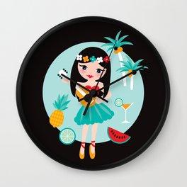 Hawaii summer hula girl Wall Clock