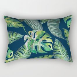 Jungle Leaves, Banana, Monstera, Blue Rectangular Pillow