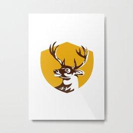 Whitetail Deer Buck Head Crest Retro Metal Print