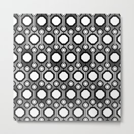 Octagon Hex Pattern Gray-Scale  Metal Print